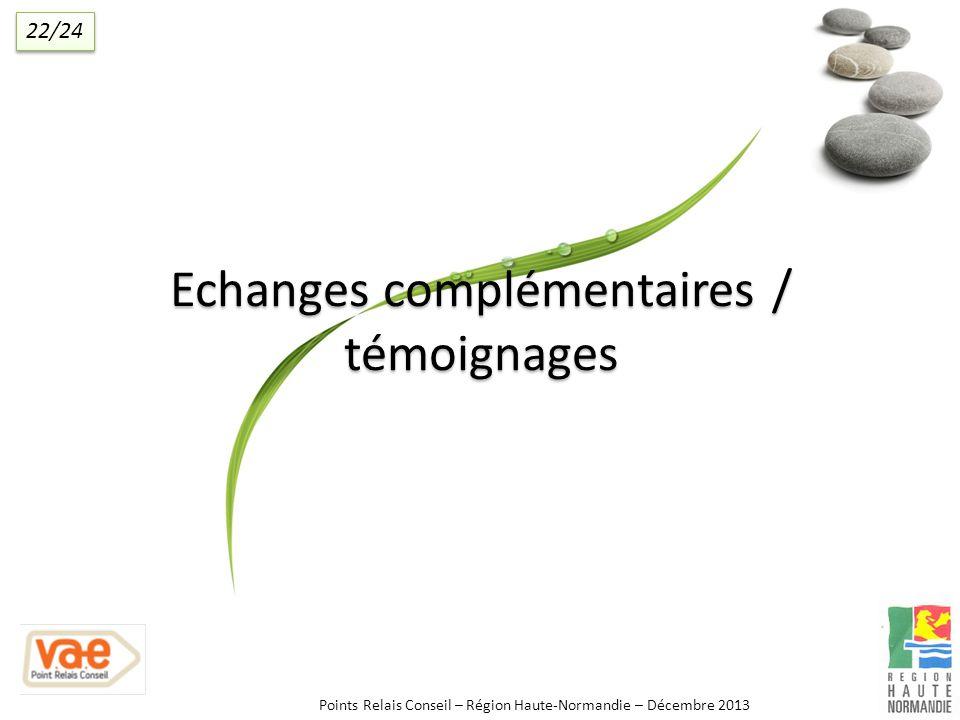 Echanges complémentaires / témoignages Points Relais Conseil – Région Haute-Normandie – Décembre 2013 22/24