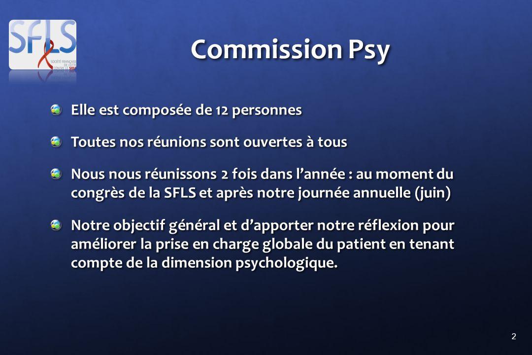 2 Commission Psy Elle est composée de 12 personnes Toutes nos réunions sont ouvertes à tous Nous nous réunissons 2 fois dans lannée : au moment du con