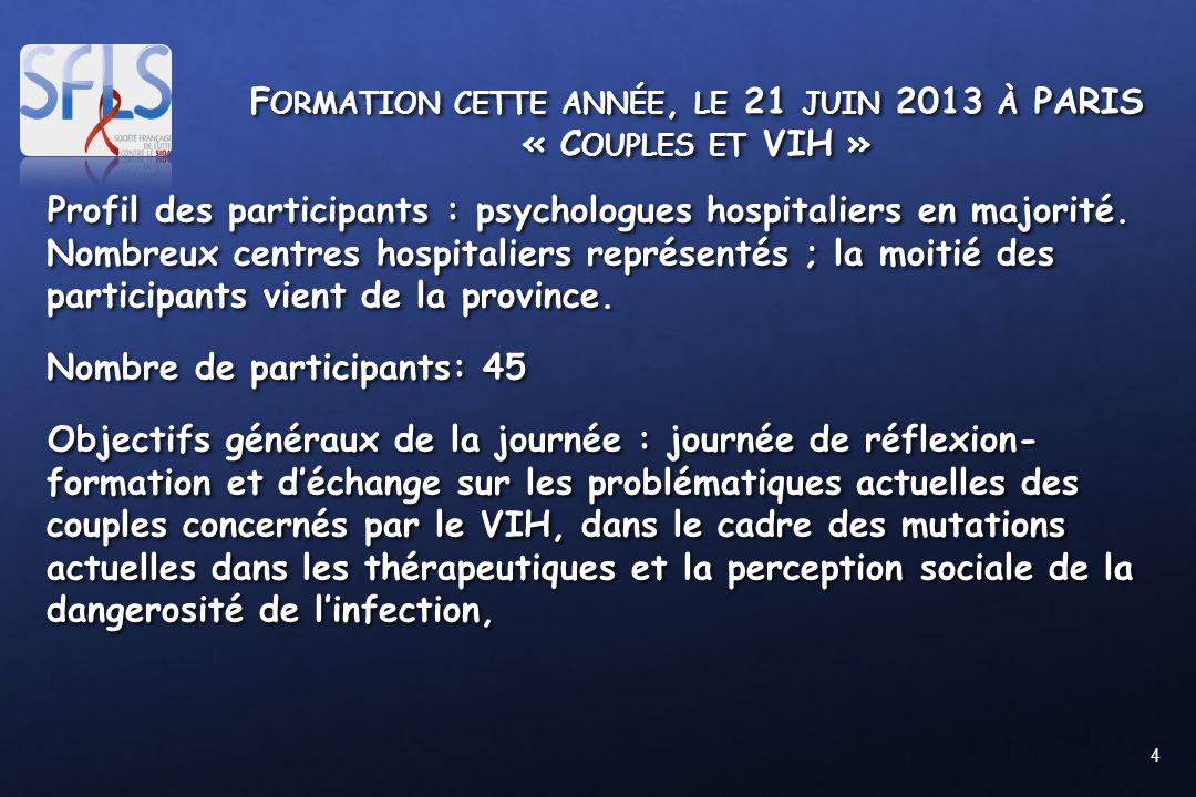 4 F ORMATION CETTE ANNÉE, LE 21 JUIN 2013 À PARIS « C OUPLES ET VIH » Profil des participants : psychologues hospitaliers en majorité. Nombreux centre