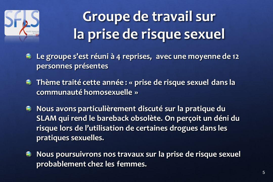 5 Groupe de travail sur la prise de risque sexuel Le groupe sest réuni à 4 reprises, avec une moyenne de 12 personnes présentes Thème traité cette ann