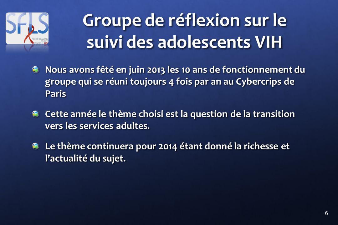 6 Groupe de réflexion sur le suivi des adolescents VIH Nous avons fêté en juin 2013 les 10 ans de fonctionnement du groupe qui se réuni toujours 4 fois par an au Cybercrips de Paris Cette année le thème choisi est la question de la transition vers les services adultes.