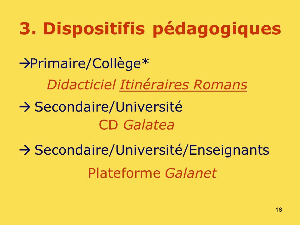16 3. Dispositifis pédagogiques Primaire/Collège* Secondaire/Université Secondaire/Université/Enseignants Plateforme Galanet Didacticiel Itinéraires R