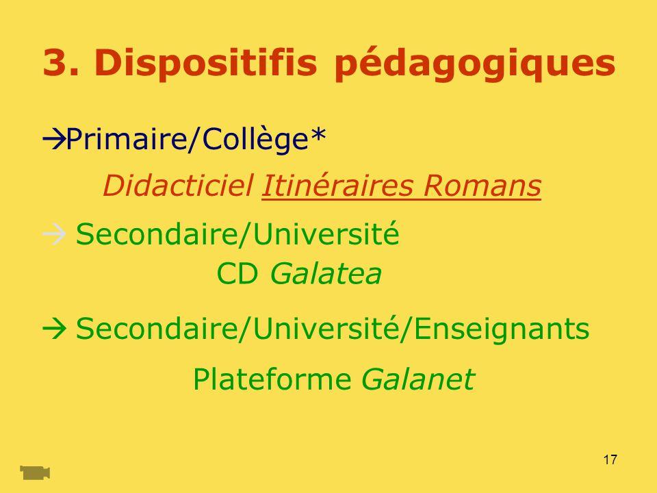 17 3. Dispositifis pédagogiques Primaire/Collège* Secondaire/Université Secondaire/Université/Enseignants Plateforme Galanet Didacticiel Itinéraires R