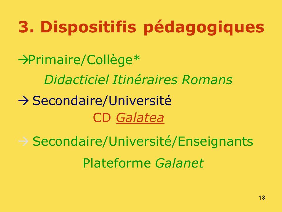 18 3. Dispositifis pédagogiques Primaire/Collège* Secondaire/Université Secondaire/Université/Enseignants Plateforme Galanet Didacticiel Itinéraires R