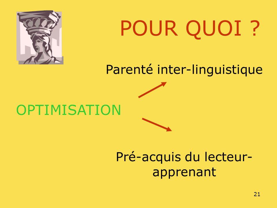 21 POUR QUOI ? Parenté inter-linguistique Pré-acquis du lecteur- apprenant OPTIMISATION