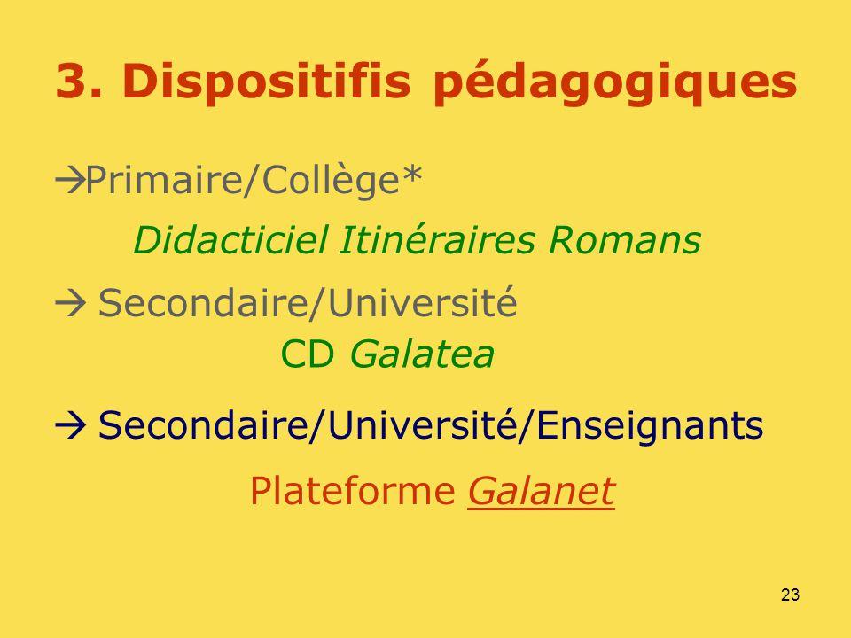 23 3. Dispositifis pédagogiques Primaire/Collège* Secondaire/Université Secondaire/Université/Enseignants Plateforme GalanetGalanet Didacticiel Itinér