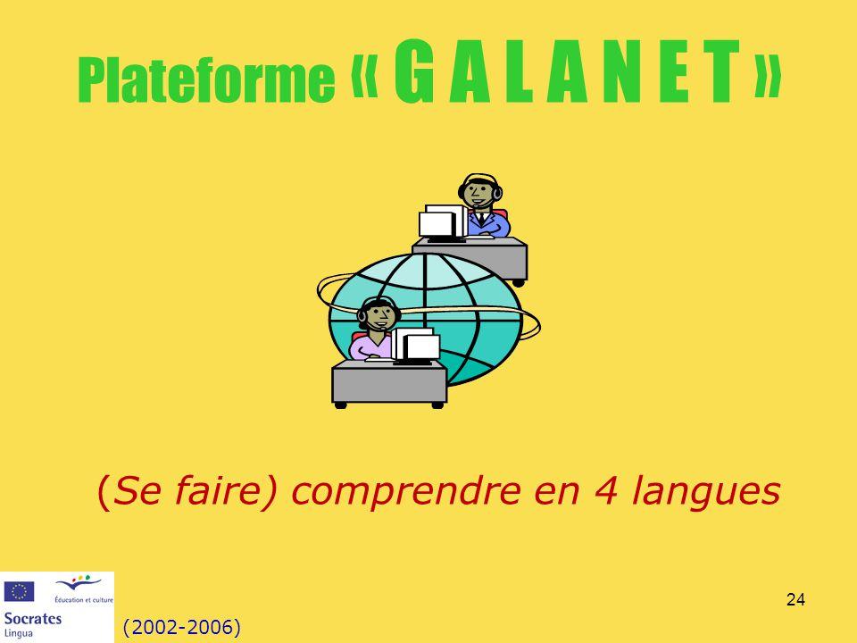 24 Plateforme « G A L A N E T » (2002-2006) (Se faire) comprendre en 4 langues