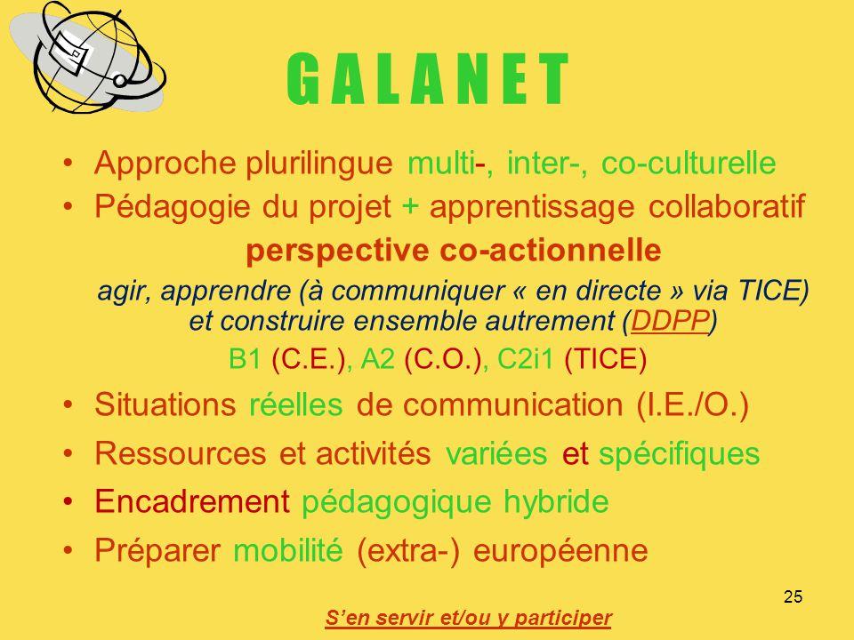 25 G A L A N E T Approche plurilingue multi-, inter-, co-culturelle Pédagogie du projet + apprentissage collaboratif perspective co-actionnelle agir,