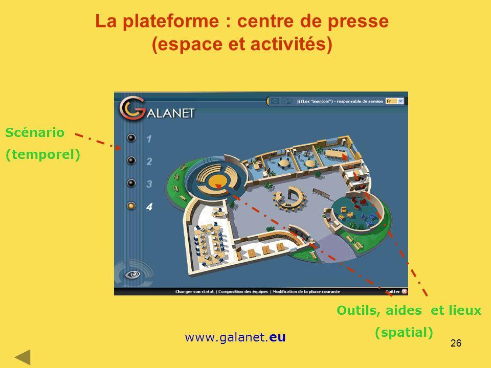 26 La plateforme : centre de presse (espace et activités) www.galanet.eu Scénario (temporel) Outils, aides et lieux (spatial)