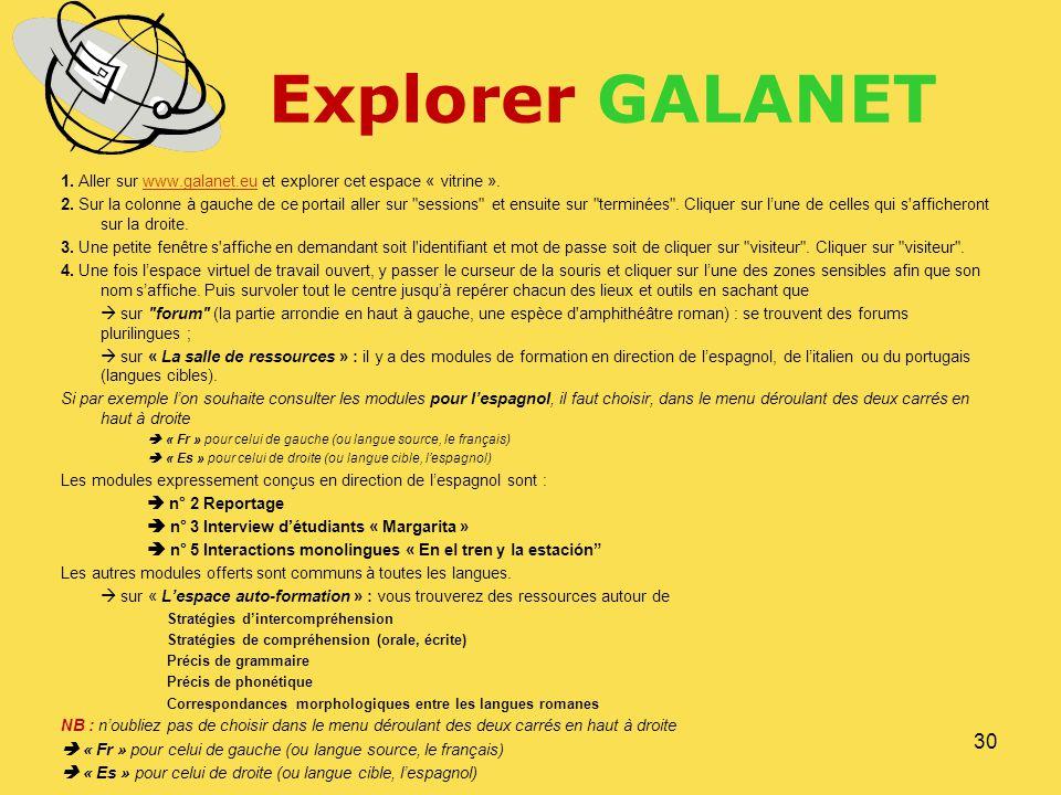 Explorer GALANET 1. Aller sur www.galanet.eu et explorer cet espace « vitrine ».www.galanet.eu 2. Sur la colonne à gauche de ce portail aller sur