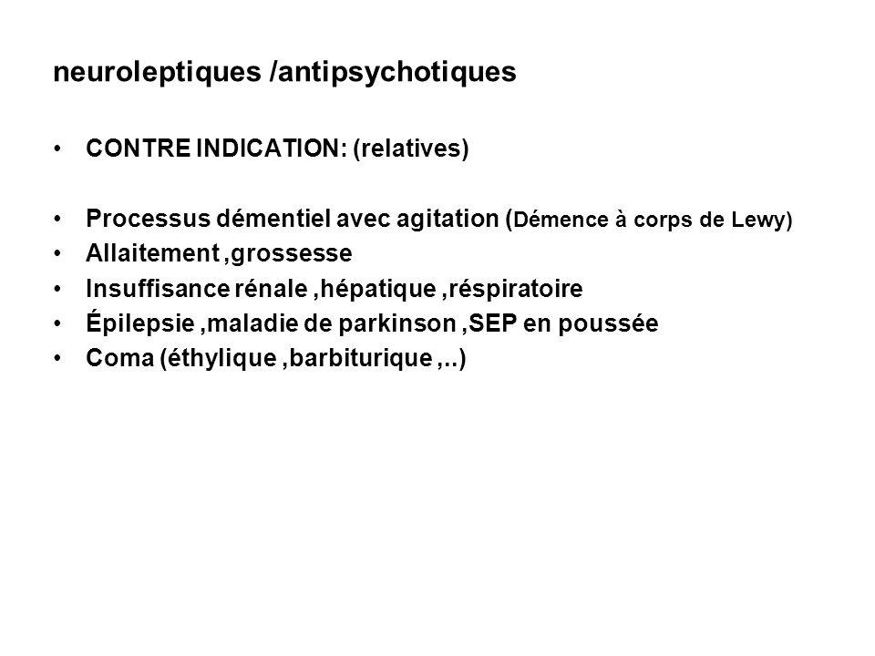 neuroleptiques /antipsychotiques CONTRE INDICATION: (relatives) Processus démentiel avec agitation ( Démence à corps de Lewy) Allaitement,grossesse In