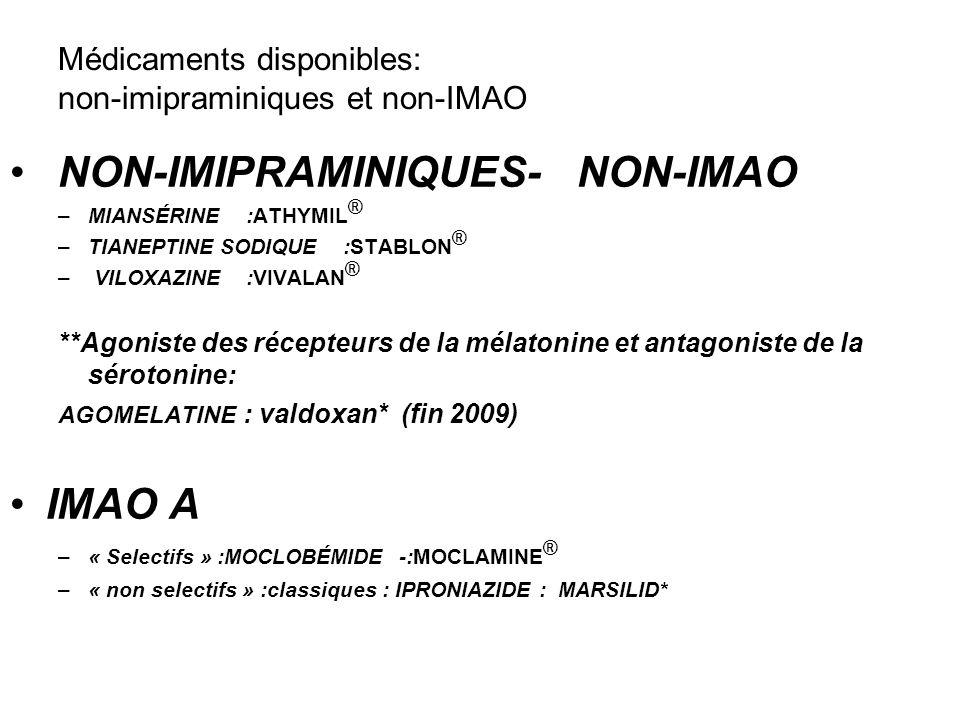 Médicaments disponibles: non-imipraminiques et non-IMAO NON-IMIPRAMINIQUES- NON-IMAO –MIANSÉRINE :ATHYMIL ® –TIANEPTINE SODIQUE :STABLON ® – VILOXAZIN