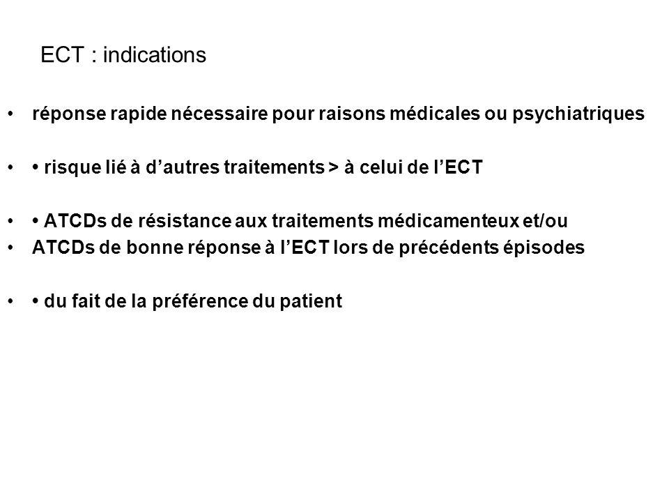 ECT : indications réponse rapide nécessaire pour raisons médicales ou psychiatriques risque lié à dautres traitements > à celui de lECT ATCDs de résis