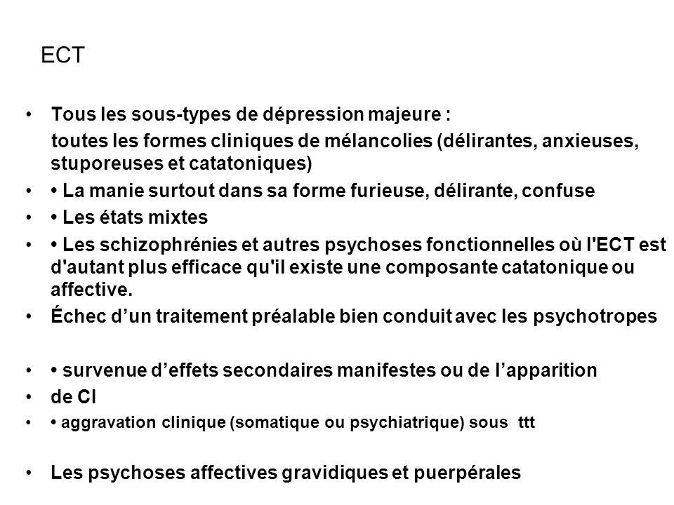 ECT Tous les sous-types de dépression majeure : toutes les formes cliniques de mélancolies (délirantes, anxieuses, stuporeuses et catatoniques) La man