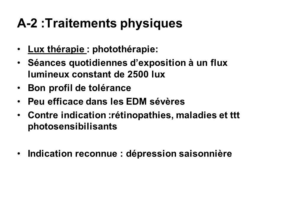 A-2 :Traitements physiques Lux thérapie : photothérapie: Séances quotidiennes dexposition à un flux lumineux constant de 2500 lux Bon profil de toléra