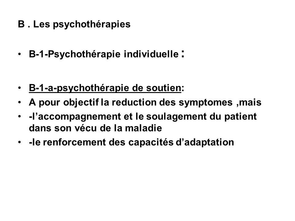 B. Les psychothérapies B-1-Psychothérapie individuelle : B-1-a-psychothérapie de soutien: A pour objectif la reduction des symptomes,mais -laccompagne