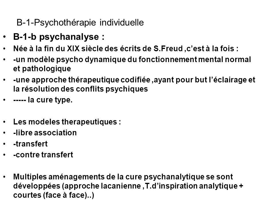 B-1-Psychothérapie individuelle B-1-b psychanalyse : Née à la fin du XIX siècle des écrits de S.Freud,cest à la fois : -un modèle psycho dynamique du