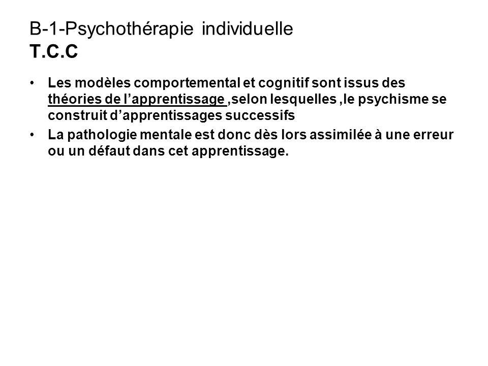 B-1-Psychothérapie individuelle T.C.C Les modèles comportemental et cognitif sont issus des théories de lapprentissage,selon lesquelles,le psychisme s
