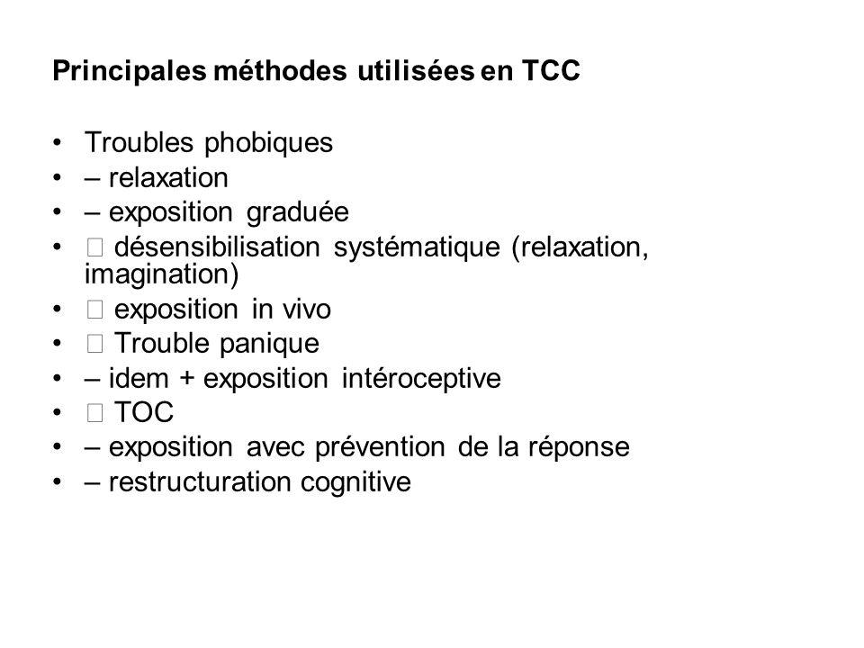 Principales méthodes utilisées en TCC Troubles phobiques – relaxation – exposition graduée désensibilisation systématique (relaxation, imagination) ex