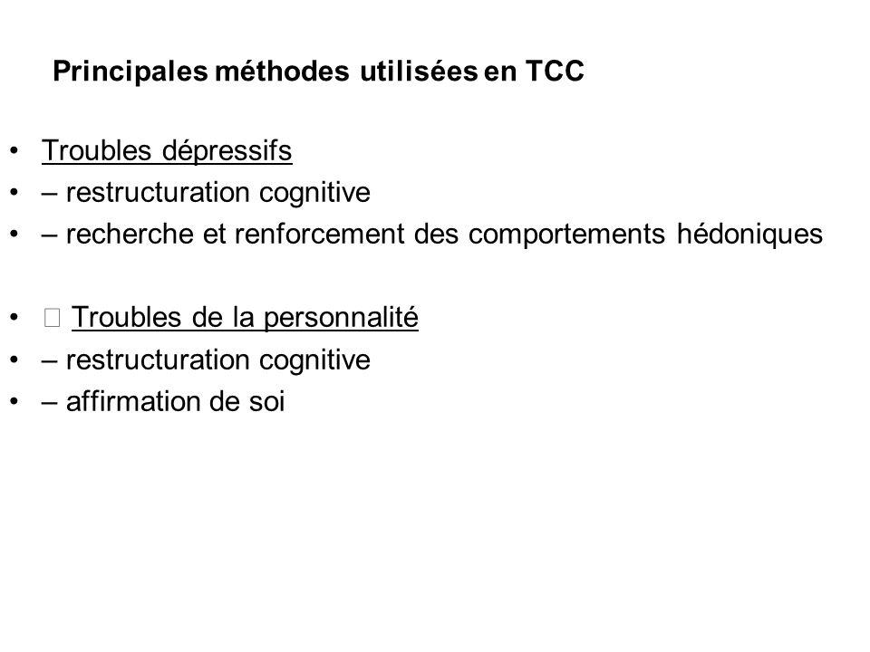 Principales méthodes utilisées en TCC Troubles dépressifs – restructuration cognitive – recherche et renforcement des comportements hédoniques Trouble