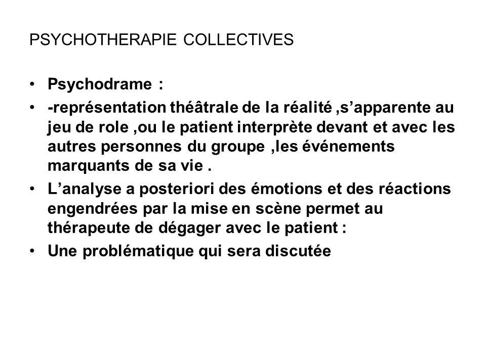 PSYCHOTHERAPIE COLLECTIVES Psychodrame : -représentation théâtrale de la réalité,sapparente au jeu de role,ou le patient interprète devant et avec les