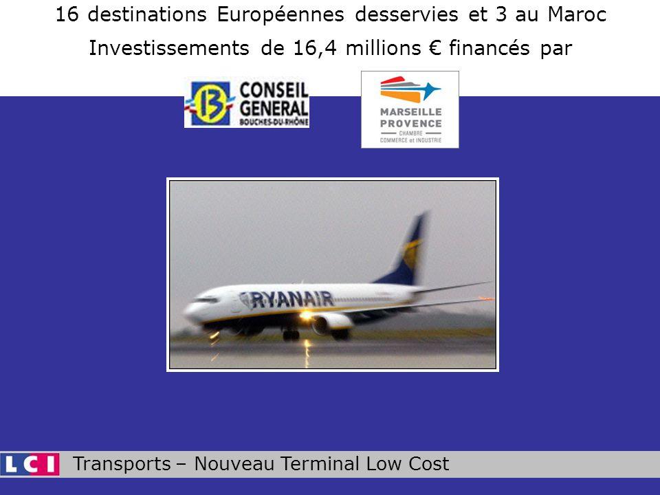 Transports – Nouveau Terminal Low Cost 16 destinations Européennes desservies et 3 au Maroc Investissements de 16,4 millions financés par