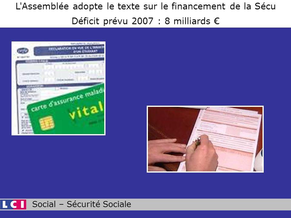 Social – Sécurité Sociale L Assemblée adopte le texte sur le financement de la Sécu Déficit prévu 2007 : 8 milliards