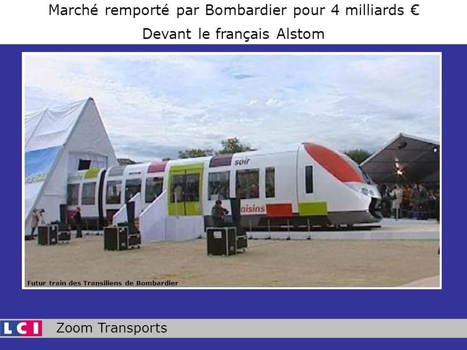 Zoom Transports Marché remporté par Bombardier pour 4 milliards Devant le français Alstom Futur train des Transiliens de Bombardier
