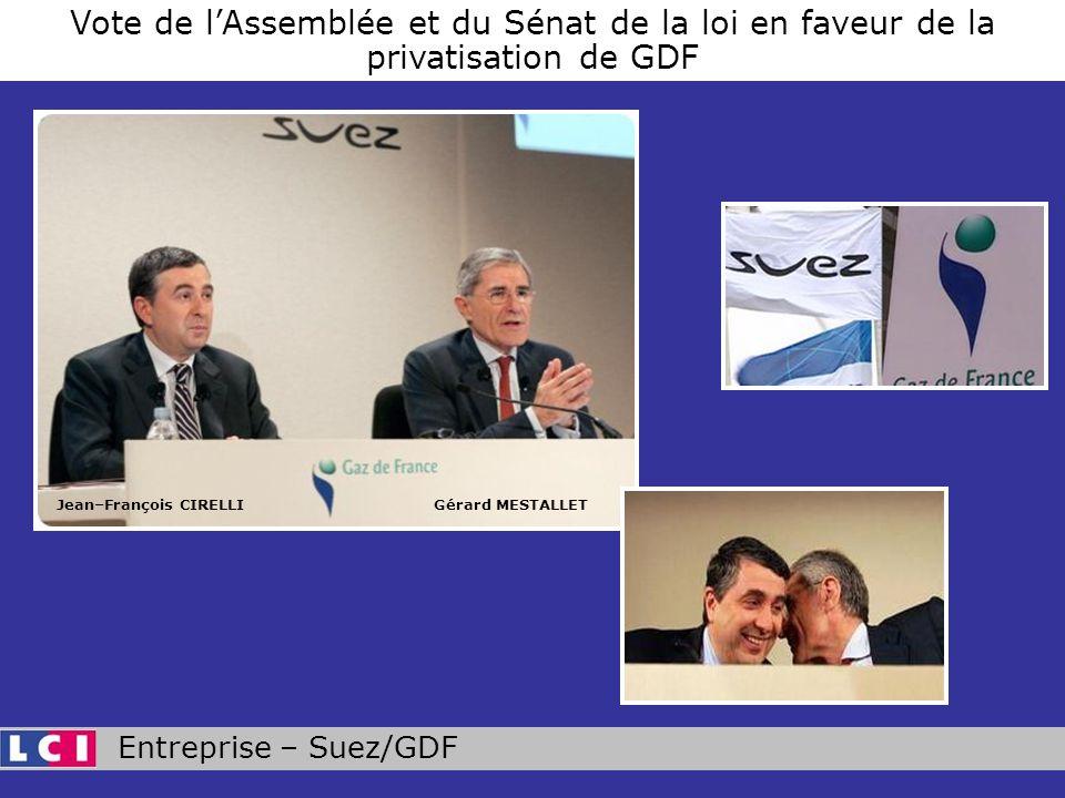 Entreprise – Suez/GDF Vote de lAssemblée et du Sénat de la loi en faveur de la privatisation de GDF Jean–François CIRELLIGérard MESTALLET