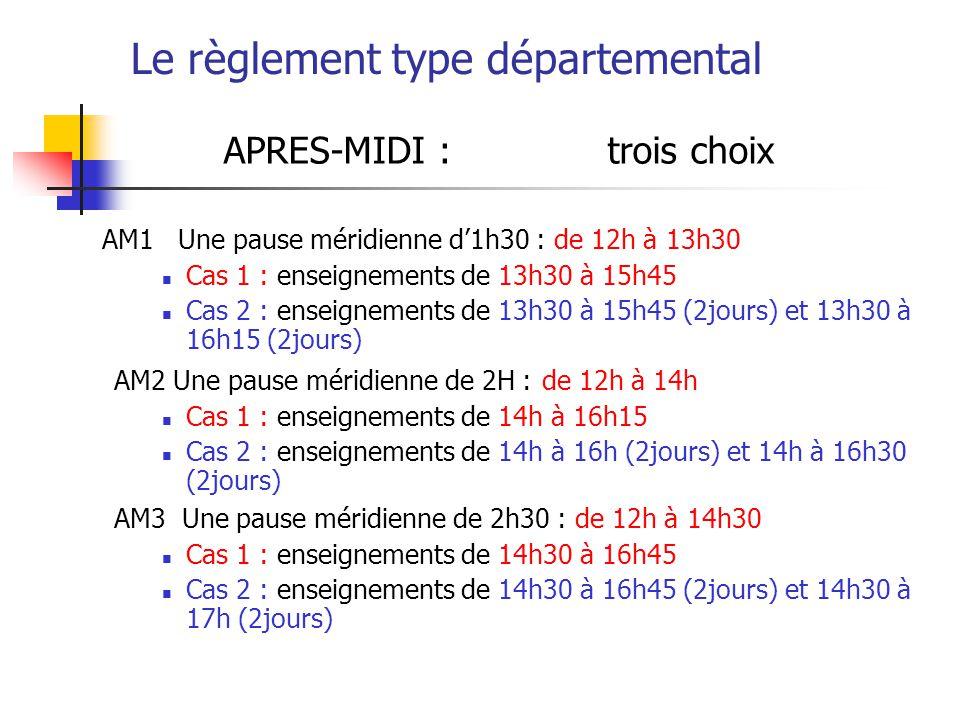 Le règlement type départemental APRES-MIDI : trois choix AM1 Une pause méridienne d1h30 : de 12h à 13h30 Cas 1 : enseignements de 13h30 à 15h45 Cas 2