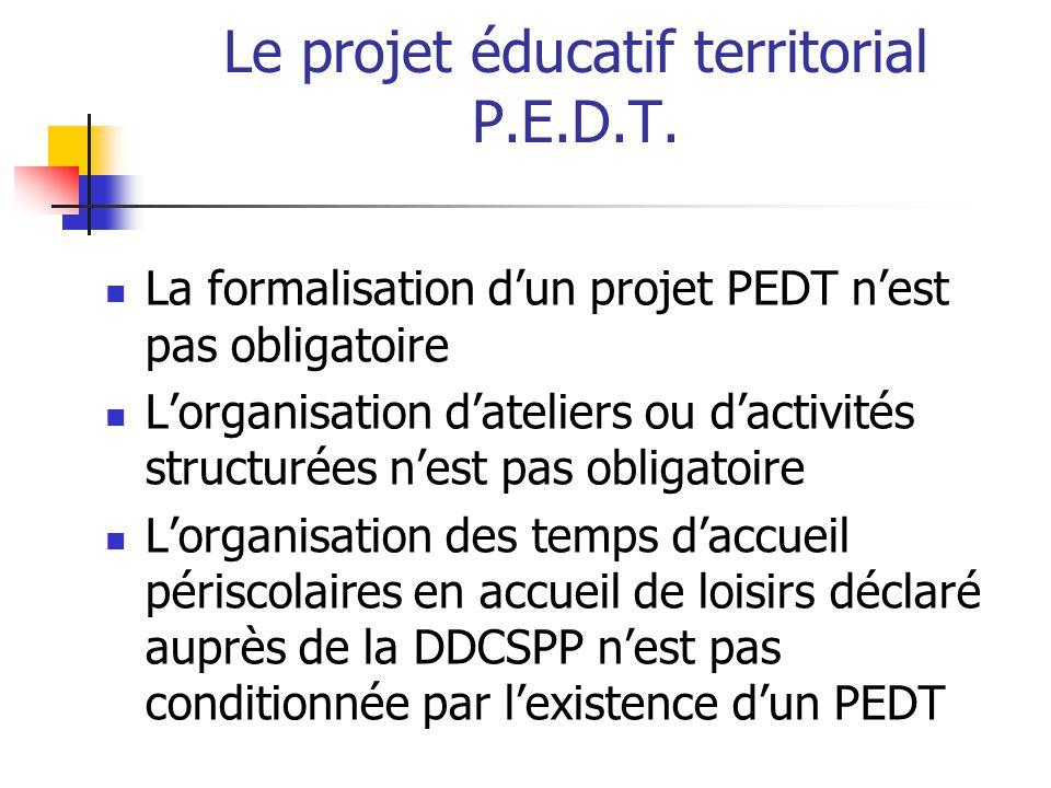 Le projet éducatif territorial P.E.D.T. La formalisation dun projet PEDT nest pas obligatoire Lorganisation dateliers ou dactivités structurées nest p