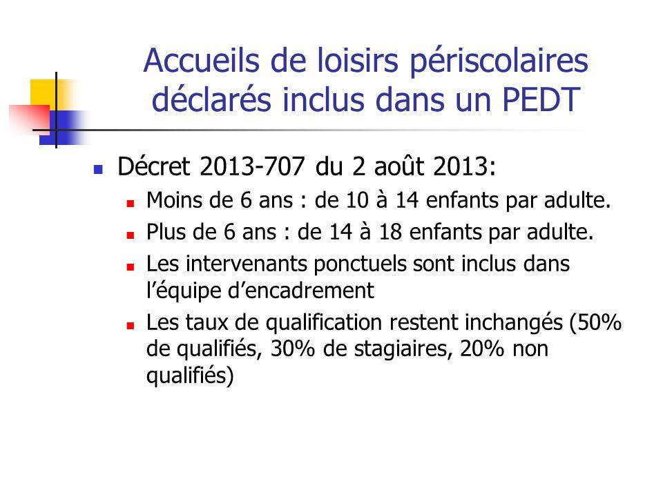 Accueils de loisirs périscolaires déclarés inclus dans un PEDT Décret 2013-707 du 2 août 2013: Moins de 6 ans : de 10 à 14 enfants par adulte. Plus de