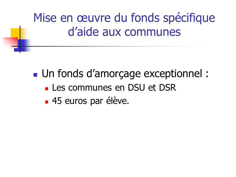 Mise en œuvre du fonds spécifique daide aux communes Un fonds damorçage exceptionnel : Les communes en DSU et DSR 45 euros par élève.