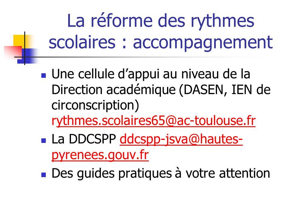 La réforme des rythmes scolaires : accompagnement Une cellule dappui au niveau de la Direction académique (DASEN, IEN de circonscription) rythmes.scol