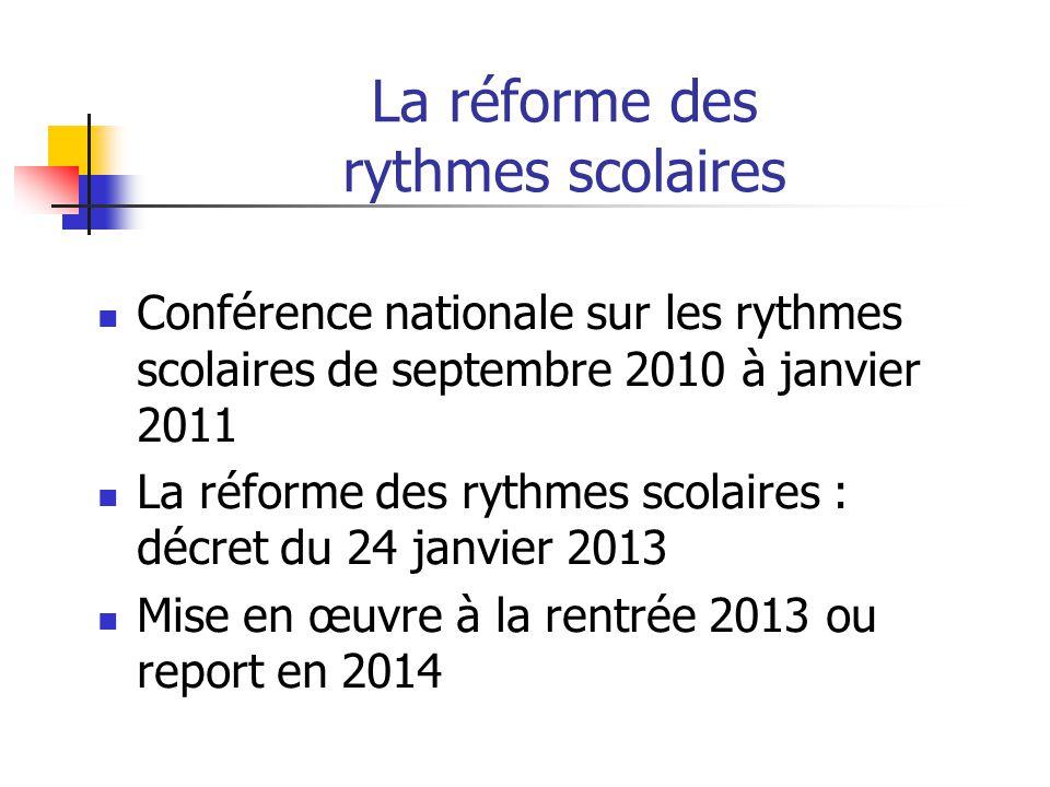 La réforme des rythmes scolaires Conférence nationale sur les rythmes scolaires de septembre 2010 à janvier 2011 La réforme des rythmes scolaires : dé