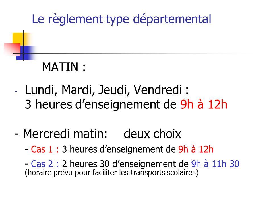 Le règlement type départemental APRES-MIDI : trois choix AM1 Une pause méridienne d1h30 : de 12h à 13h30 Cas 1 : enseignements de 13h30 à 15h45 Cas 2 : enseignements de 13h30 à 15h45 (2jours) et 13h30 à 16h15 (2jours) AM2 Une pause méridienne de 2H : de 12h à 14h Cas 1 : enseignements de 14h à 16h15 Cas 2 : enseignements de 14h à 16h (2jours) et 14h à 16h30 (2jours) AM3 Une pause méridienne de 2h30 : de 12h à 14h30 Cas 1 : enseignements de 14h30 à 16h45 Cas 2 : enseignements de 14h30 à 16h45 (2jours) et 14h30 à 17h (2jours)