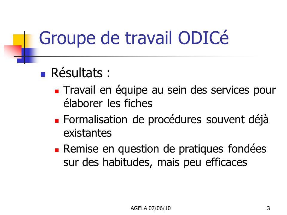 AGELA 07/06/102 Groupe de travail ODICé Deux réunions en avril et juin Composition du groupe de travail : Agents comptables et gestionnaires Lycées, l