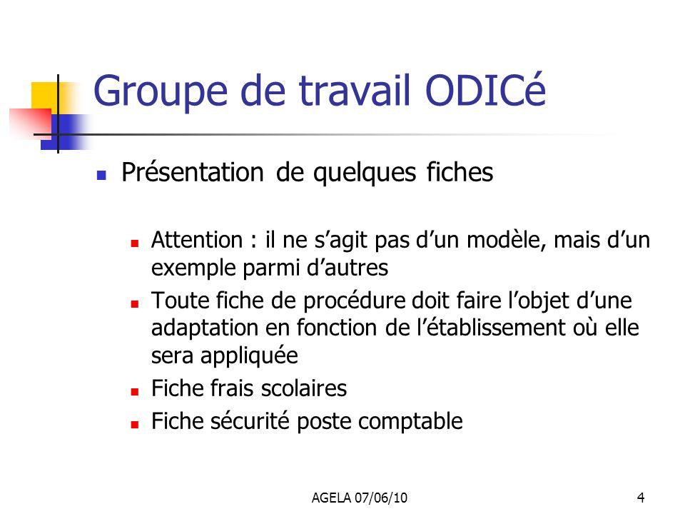AGELA 07/06/103 Groupe de travail ODICé Résultats : Travail en équipe au sein des services pour élaborer les fiches Formalisation de procédures souven
