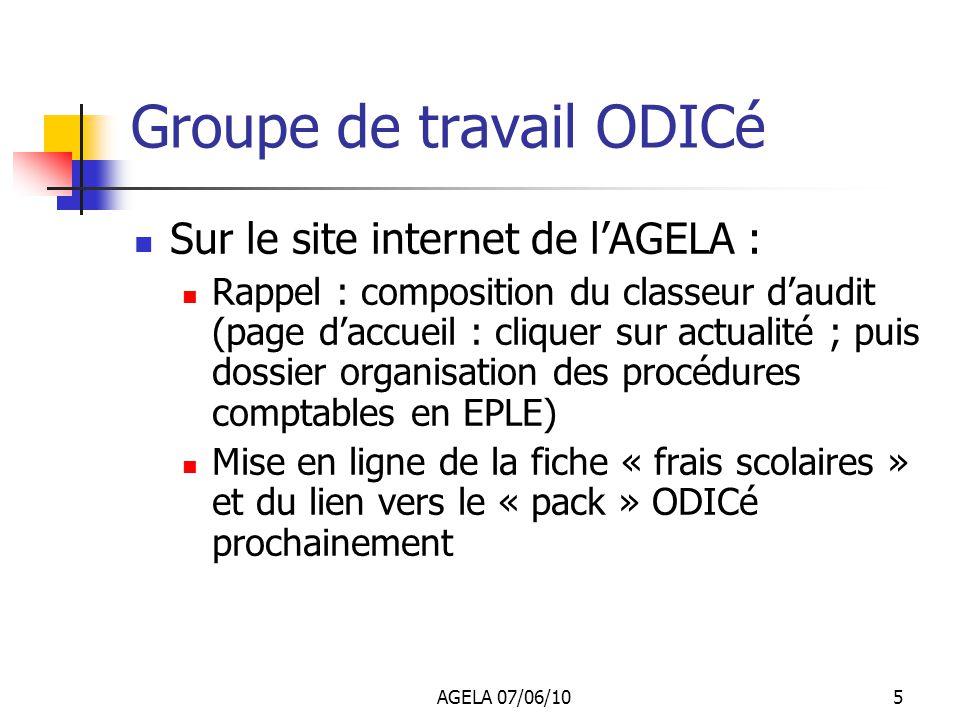 AGELA 07/06/104 Groupe de travail ODICé Présentation de quelques fiches Attention : il ne sagit pas dun modèle, mais dun exemple parmi dautres Toute f