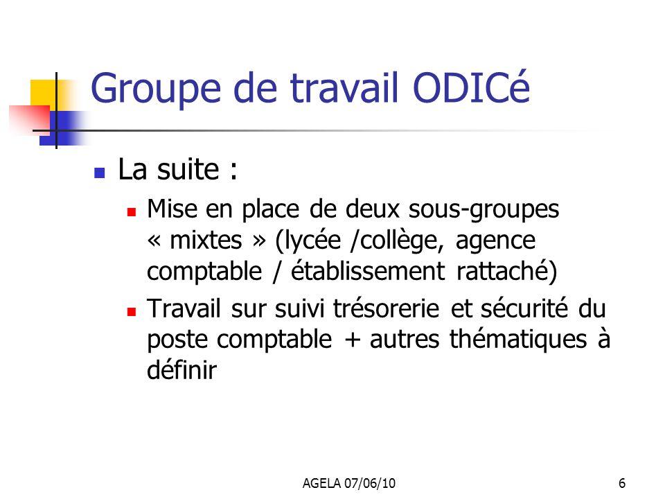 AGELA 07/06/105 Groupe de travail ODICé Sur le site internet de lAGELA : Rappel : composition du classeur daudit (page daccueil : cliquer sur actualit