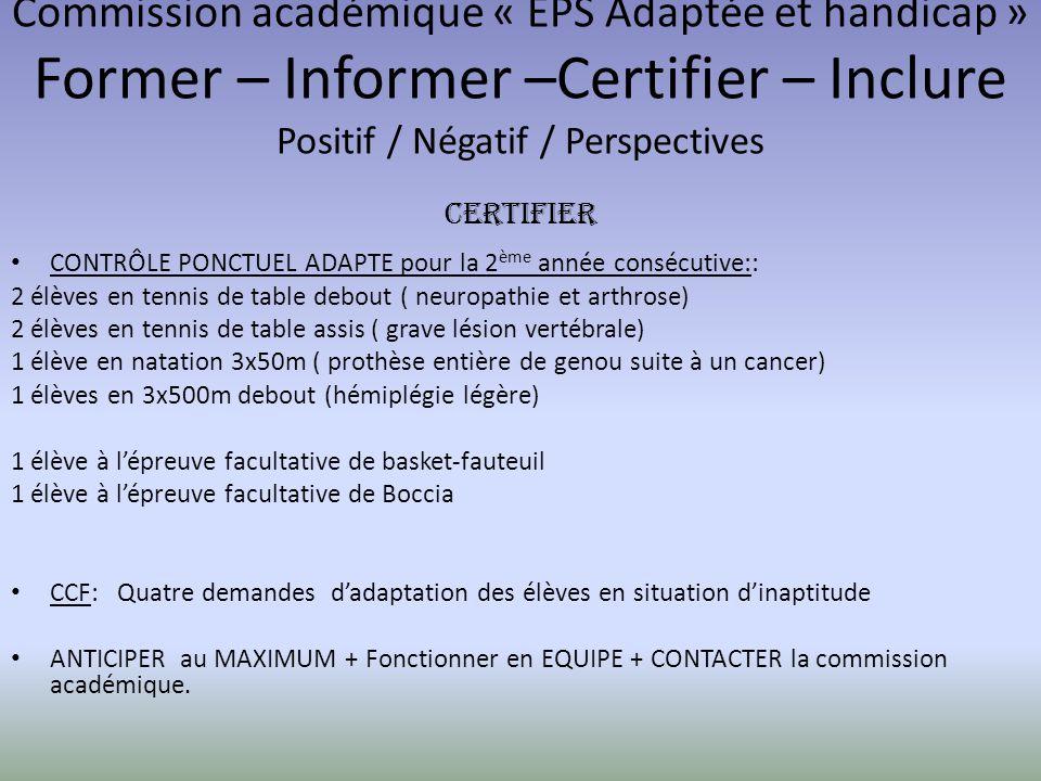 Commission académique « EPS Adaptée et handicap » Former – Informer –Certifier – Inclure Positif / Négatif / Perspectives CERTIFIER CONTRÔLE PONCTUEL