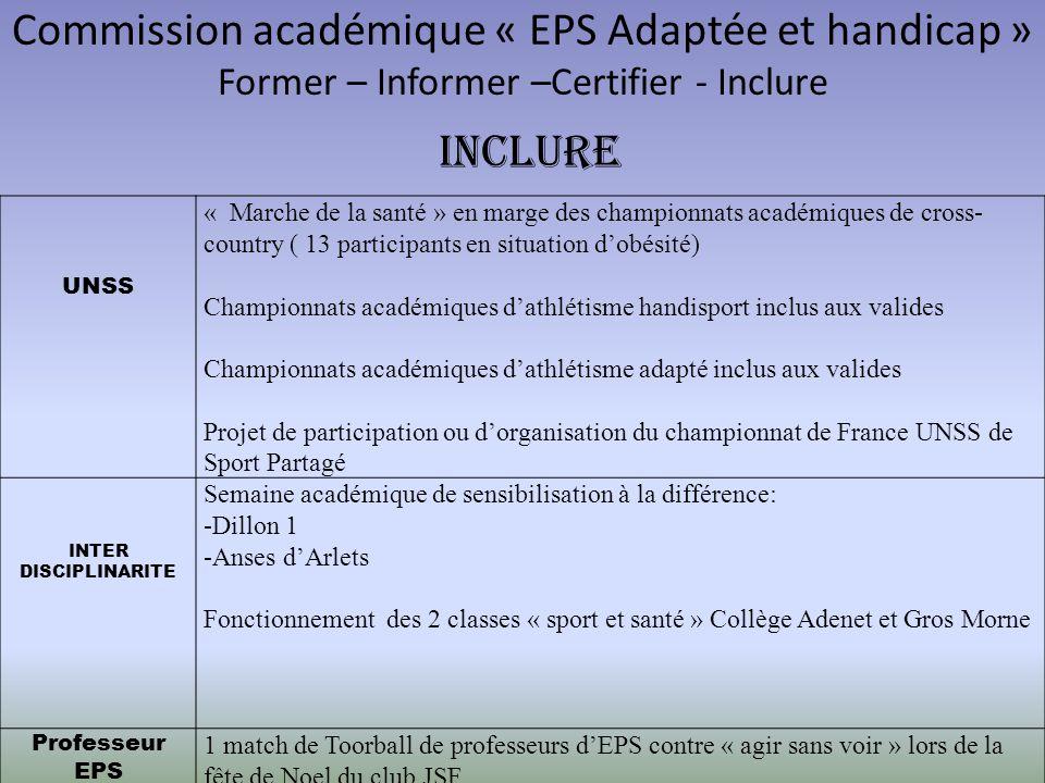 Commission académique « EPS Adaptée et handicap » Former – Informer –Certifier - Inclure UNSS « Marche de la santé » en marge des championnats académi