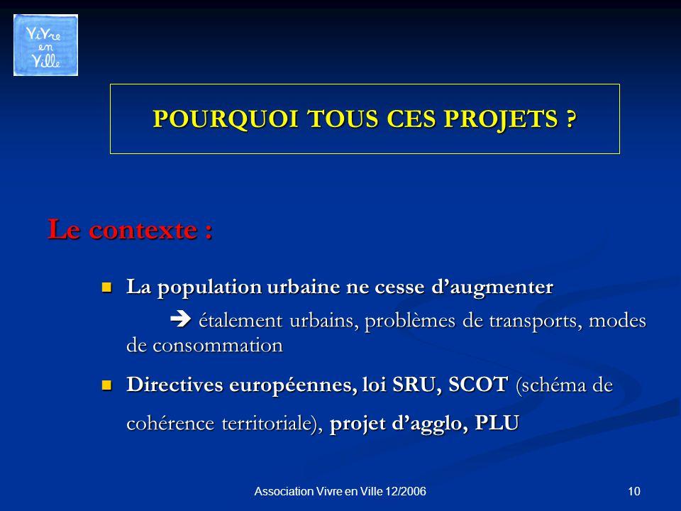 10Association Vivre en Ville 12/2006 POURQUOI TOUS CES PROJETS .