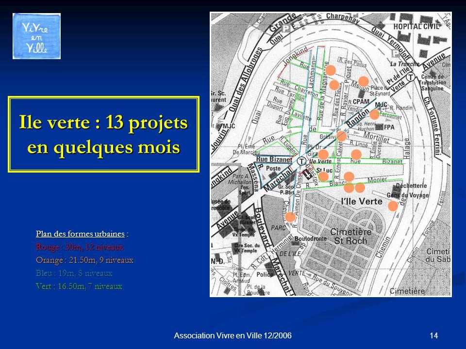 14Association Vivre en Ville 12/2006 Ile verte : 13 projets en quelques mois Plan des formes urbaines : Rouge : 30m, 12 niveaux Orange : 21.50m, 9 niveaux Bleu : 19m, 8 niveaux Vert : 16.50m, 7 niveaux