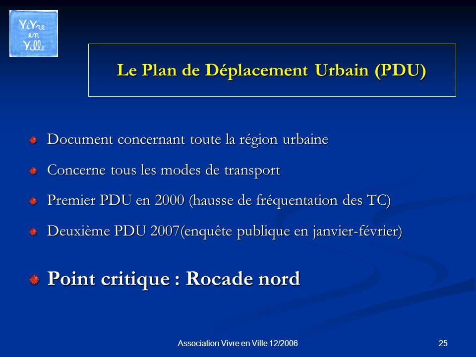 25Association Vivre en Ville 12/2006 Le Plan de Déplacement Urbain (PDU) Document concernant toute la région urbaine Concerne tous les modes de transport Premier PDU en 2000 (hausse de fréquentation des TC) Deuxième PDU 2007(enquête publique en janvier-février) Point critique : Rocade nord