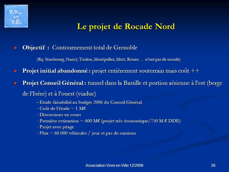 26Association Vivre en Ville 12/2006 Le projet de Rocade Nord Objectif : Contournement total de Grenoble (Rq.