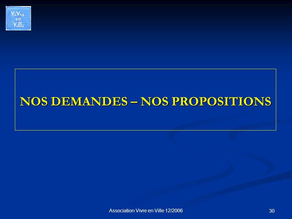 Association Vivre en Ville 12/2006 30 NOS DEMANDES – NOS PROPOSITIONS