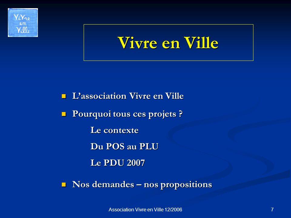 7Association Vivre en Ville 12/2006 Vivre en Ville Lassociation Vivre en Ville Lassociation Vivre en Ville Pourquoi tous ces projets .