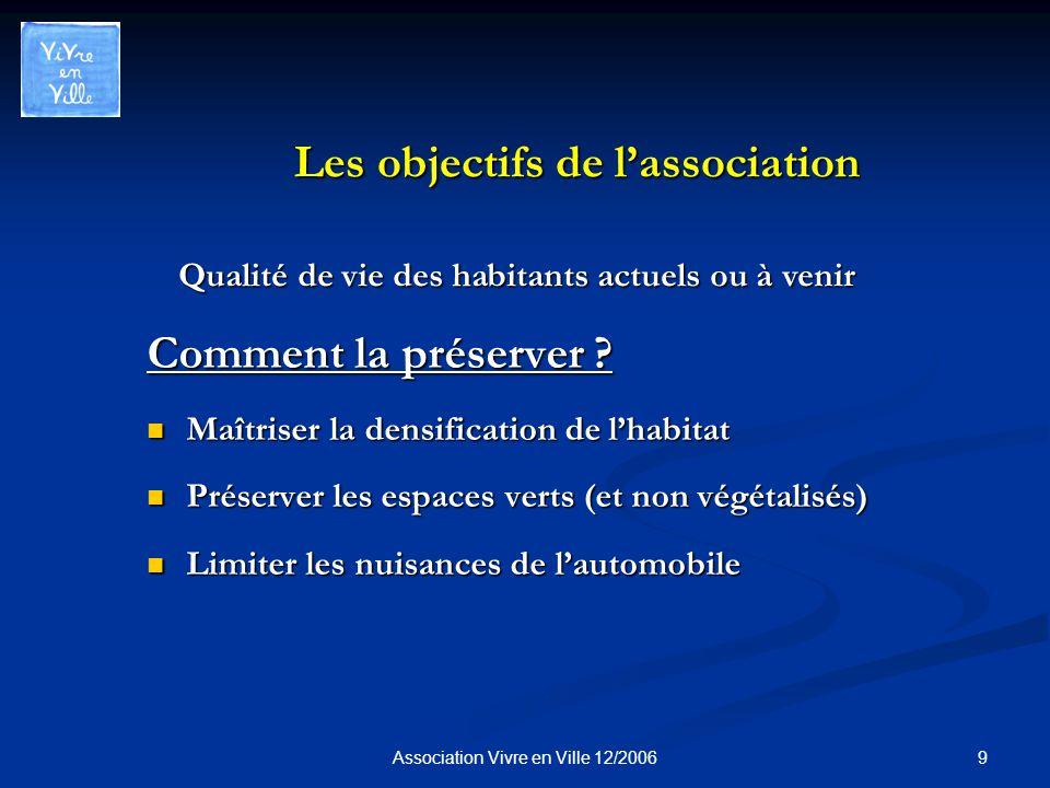 9Association Vivre en Ville 12/2006 Les objectifs de lassociation Comment la préserver .