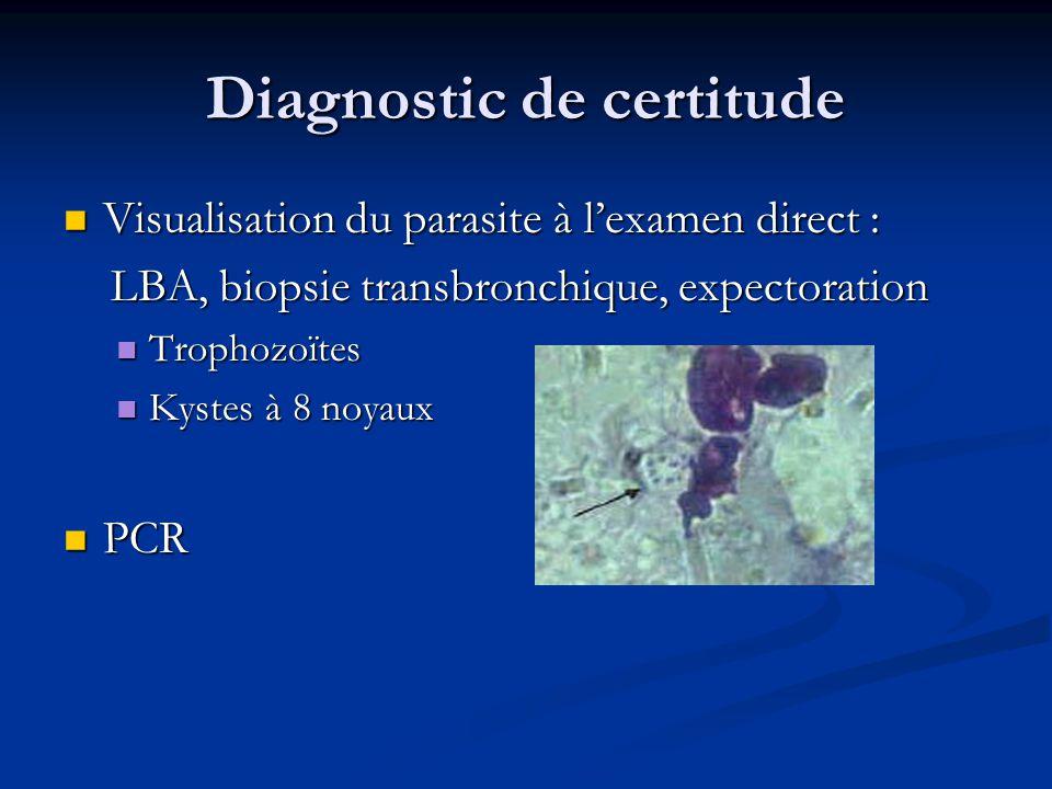 Diagnostic de certitude Visualisation du parasite à lexamen direct : Visualisation du parasite à lexamen direct : LBA, biopsie transbronchique, expect